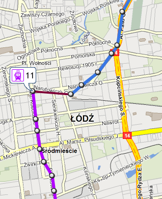 Displaying routes on the map